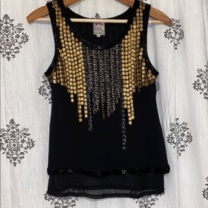 Beaded and sequin vintage style luxury tank top